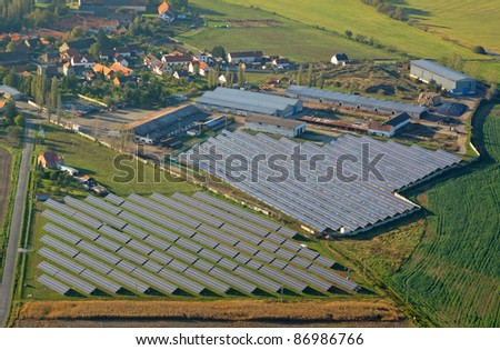 Aerial photo of solar power plant. Many solar energy panels in countryside from above. Photovoltaic power station near Pilsen, Czech republic, European union.