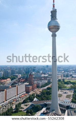 aerial photo of th berlin television tower and skyline