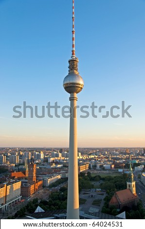 aerial photo of the berlin television tower and city hall