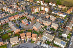 Aerial photo of the housing estates and suburban area of the town of Swarcliffe in Leeds West Yorkshire in the UK