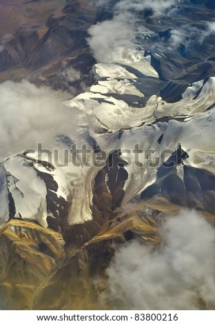 Aerial photo of the landscape in the highlands of Tibet - stock photo