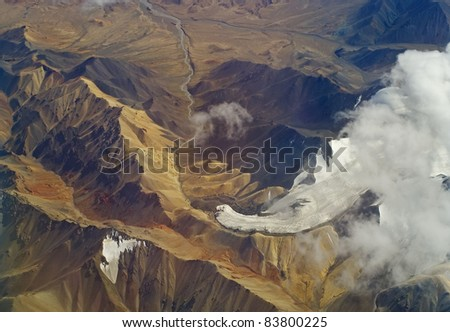 Aerial photo of the landscape in the highlands of Tibet
