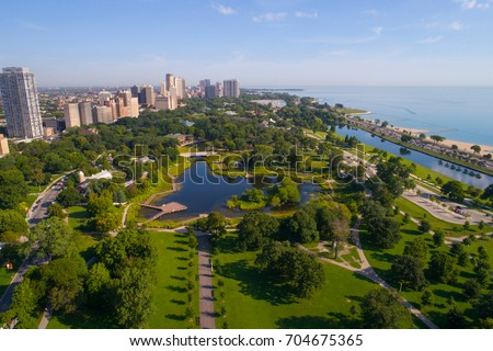 Aerial photo of the Lincoln Park Zoo Chicago IL, USA