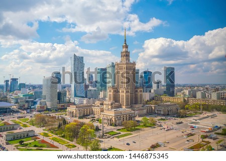 Aerial photo of  Warsaw city skyline in Poland at sunset