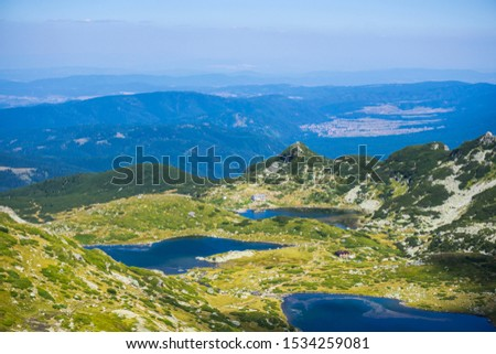 Aerial photo Seven Rila Lakes - the Fish Lake, the Trefoil Lake and the Twin Lake #1534259081