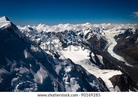 Aerial Photo. Southern Alps, West Coast, South Island, New Zealand.