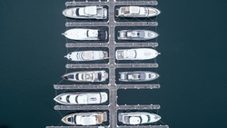 Aerial photograph of many fishing boats.