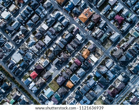 Aerial photograph of residential area in Japan. Viewpoint from directly above. #1121636939