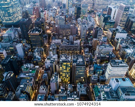 Aerial photograph of the night view of the city. #1074924314