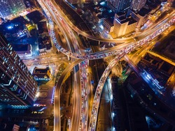 Aerial photograph of urban night scene overpass