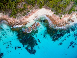 Aerial photograph over a beautiful beach in Cape Naturaliste near the towns of Dunsborough and Margaret River in the south west of Western Australia.