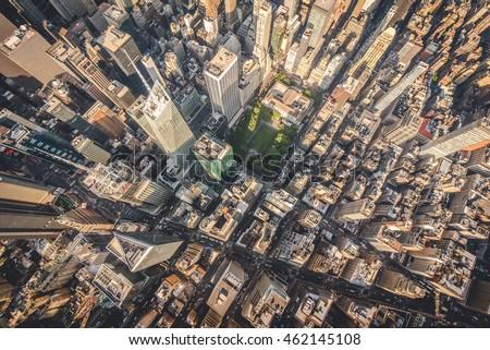 Aerial photograph taken from a helicopter in New York City, New York, USA. May 28th 2016