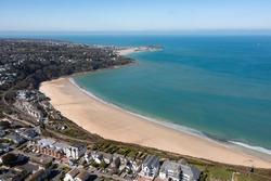 Aerial photograph taken near Carbis bay Beach, St Ives, Cornwall, England