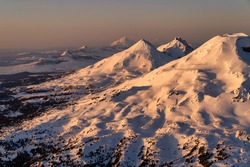 Aerial Photographs From Flying Over the Cascade Mountains in Central Oregon in Bend, Oregon Showing Three Sisters, Mount Bachelor, Broken Top, Mount Jefferson and more.