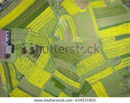 Aerial photography bird eye view of land farmland and nature landscape