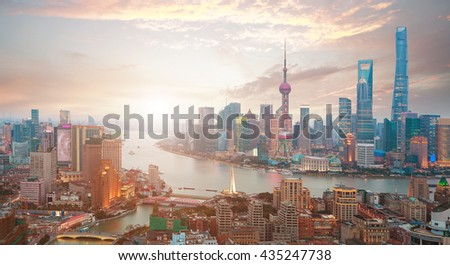 Aerial photography bird view at Shanghai bund Skyline of sunrise #435247738