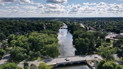 Aerial photography, Guelph, ON, Canada. View of the city and the famous Speed River in summer.