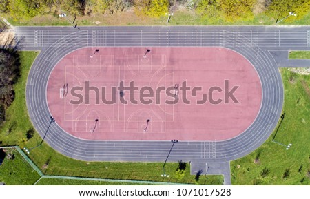 Aerial photography of an athletics stadium in Nantes city, France