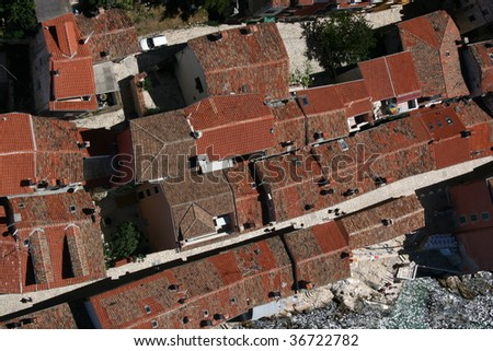 Aerial photography of city Rovinj main old street in Croatia situated on the north Adriatic mediterranean sea.