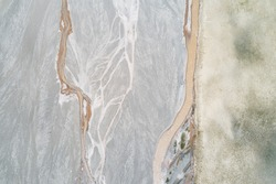 Aerial photography of dried-up riverbeds in the Tibetan region