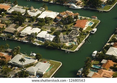 Aerial photography of generic Real State in the area of Miami, Florida