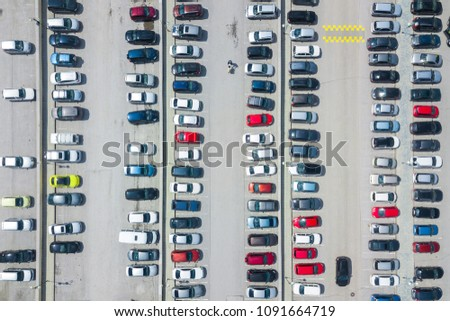 Aerial photography of modern city parking.Car parking lot viewed from above. #1091664719