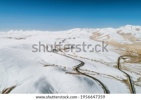 Aerial photography of the highway on the snowfields Stock photo ©