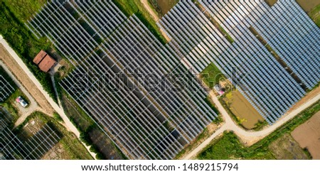 Aerial photography overlooking solar photovoltaic panel panel