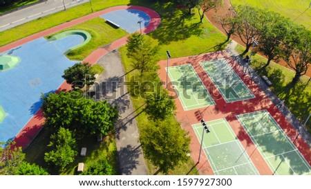 Aerial Photography Taipei Riverside Park, Extreme Sports Ground, Skateboarding Ground