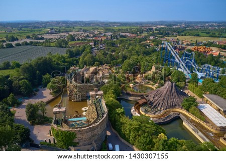 Aerial photography with drone. Amusement park Gardaland, Italy.