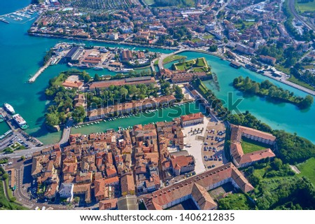 Aerial photography with drone. Beautiful view of the city of Peschiera del Garda, Italy. #1406212835