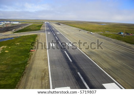 Aerial photos of landing strip of the airport