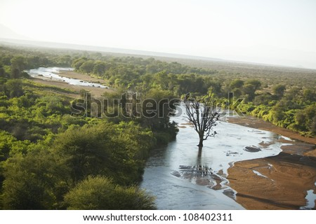 Aerial photos of river and Lewa Conservancy in Kenya, Africa