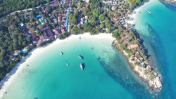 aerial photoshoot of seascape top view of Wong Duean beach at Ko Samet on sunny day