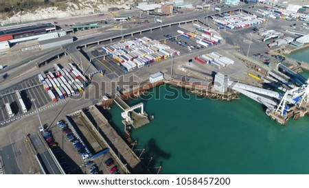 Aerial picture Dover harbor embark points and lorries trucks ready for embarking the ferry the Port of Dover is the cross-channel port situated in Dover Kent south-east England busy industrial scene