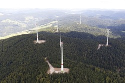 Aerial picture from the wind farm in the south of the black forest. Wind turbines on the local mountain Rohrenkopf of Gersbach, a district of Schopfheim in Baden-Wuerttemberg. WKA. Windkraftanlage.