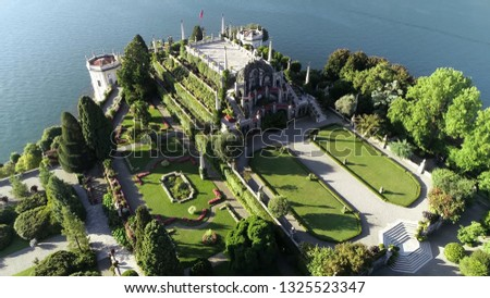 Aerial picture of Isola Bella garden it is one of the Borromean Islands of Lago Maggiore in north Italy and is divided between the Palace its Italianate park and a small fishing village