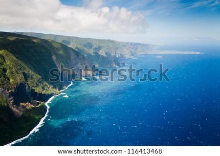 Aerial picture of part of Molokai island coast, Hawaii