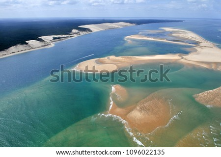 aerial plane view of bassin Arcachon near bordeaux in France with dune du pyla. #1096022135