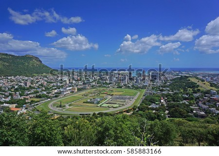 Aerial Port Louis Mauritius skyline Stock photo ©