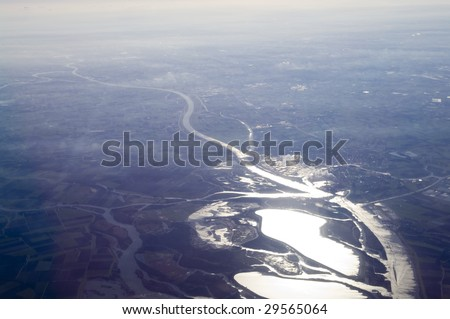 Aerial river and lakes