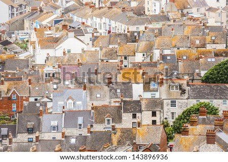 aerial rooftop abstract of buildings in Portland Bill near Weymouth, UK