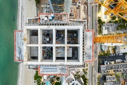 Aerial rooftop overhead photo construction site highrise building