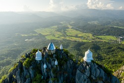 Aerial scene of temple at the cliff on top of mountain, wat chaloem phra kiat lampang chiang mai, north of thailand