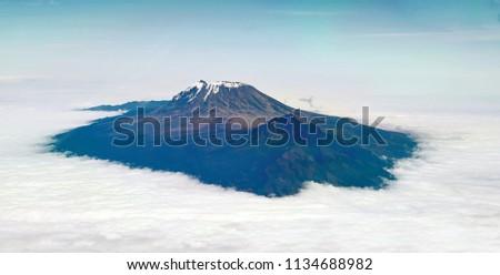 Aerial shoot of mount Kilimanjaro in Kenya