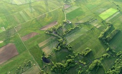 aerial shot from the drone - spring fields