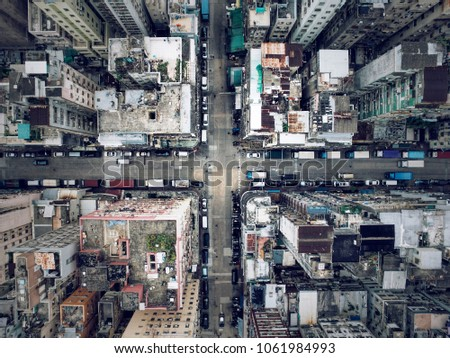 Aerial shot in Shum Shui Po, Hong Kong. Old town located in Kowloon, also the poorest neighborhood in Hong Kong because of many low educated new immigrants from China and Southern Asia living here.