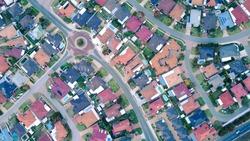 Aerial shot of Australian Suburbs north of Perth Western Australia.
