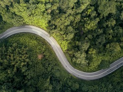 Aerial shot of beauty forest nature landscape with road.