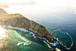 Aerial shot of Cape Point.  South Africa.